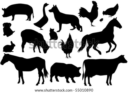 vector farm animals - stock vector