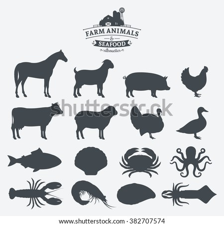 Vector farm animals and seafood silhouettes collection. Livestock, poultry and seafood icons collection for groceries, meat stores and seafood shop