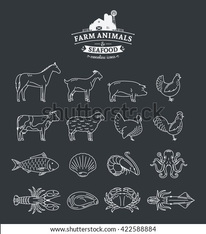 vector farm animals and seafood