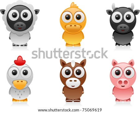 vector farm animals cartoon set 2