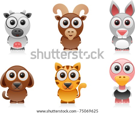 vector farm animals cartoon set 1 - stock vector