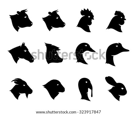 Vector farm animals icons isolated on white for groceries and butcher's shops