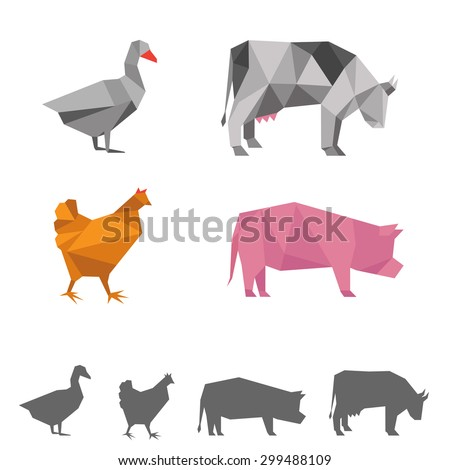 vector farm animals, origami geometric illustration, cow, pig, goose, chicken