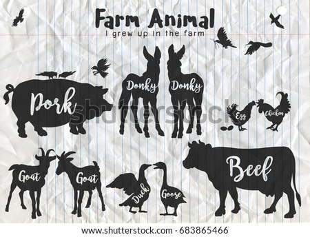 Vector Farm Animals Silhouettes Isolated, Farm animals with text. Retro styled farm animals silhouettes collection, Vector illustration