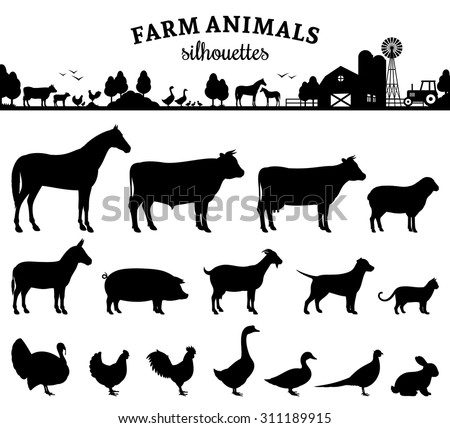 vector farm animals silhouettes