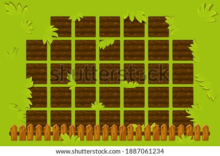 Vector farm field with wooden fence to play. Game GUI garden bed background. Сток-фото ©