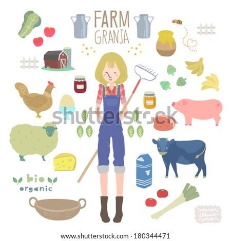 Vector Farm Illustrations set