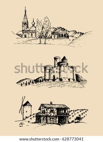 vector farm landscapes