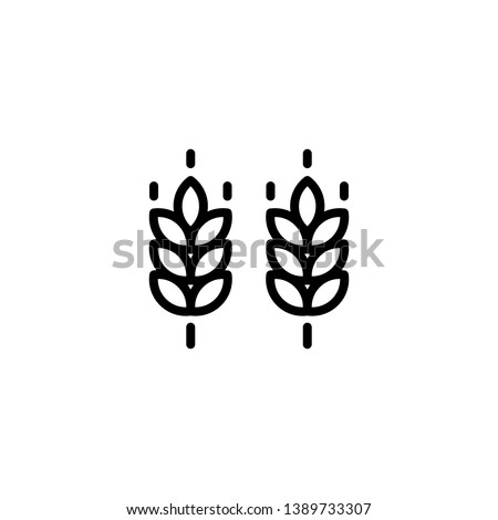 Vector farm wheat ears icon template. Line whole grain symbol illustration for organic eco business, agriculture, beer, bakery. Gluten free logo background
