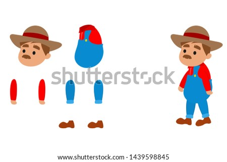 Vector Farmer Character 2D Game