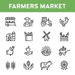 Vector farmers market icon set. Modern agriculture logo symbol collection. Organic farming pictogram illustration in line style. Eco, bio, natural signs for local food shop, healthy fresh products