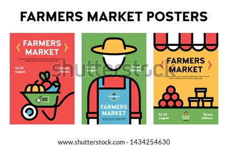 Vector farmers market poster illustration set. Farm event flyer backgrounds with place for text. Line fruit and vegetable shop banner templates. Food festival flyers with farmer, organic products