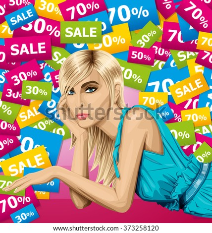 vector fashion blonde in blue