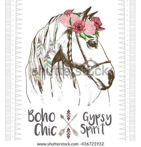 Vector fashion boho chick style horse with flower, feather wreath and arrow. Traditional bohemian decoration. Use for poster, party, fashion, events, promotion, shop, store, design.