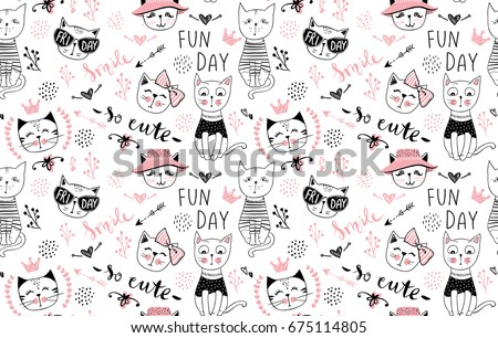 vector fashion cat seamless