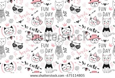 vector fashion cat seamless