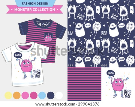 Stock Photo Vector fashion design set for baby and kids wear (artwork, seamless pattern). Monster collection.
