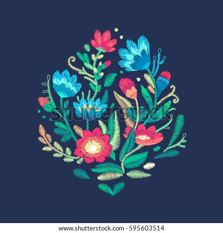 Vector fashion embroidery design for prints. Colorful stitched flowers and leafs. Embroidered floral pattern.