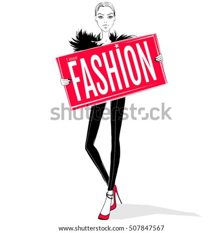 vector fashion girl model with