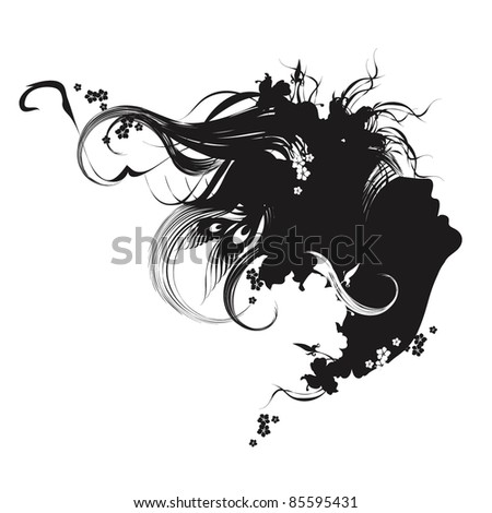 Vector fashion illustration black and white