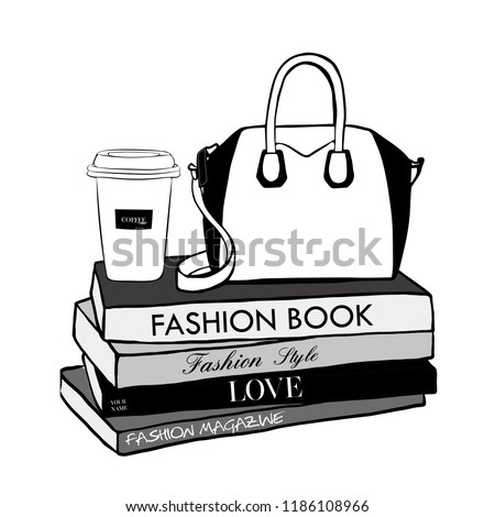 Vector fashion illustration. Cup coffee and woman bag, fashion magazines books. Hand drawn beautiful concept for girls. Fashionable illustration with stack of books, fashion magazines in Beauty style