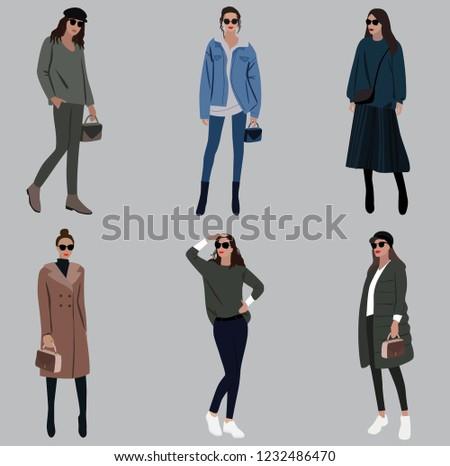 e40bb286da Vector fashion illustration of modern trendy pretty girls. Flat graphic.  Fall winter collection set