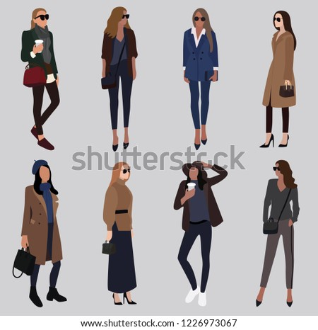 88beffc6e8 Vector fashion illustration of modern trendy stylish pretty girls. Flat  graphic. Fall winter collection