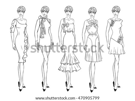 vector fashion set of clothes...