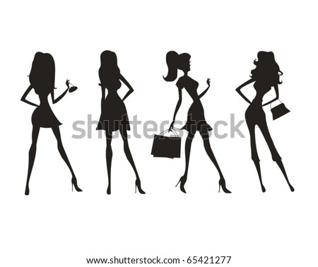 Vector fashion shopping girls silhouettes