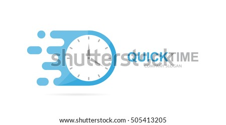 Vector fast clock logo combination. Speed timer symbol or icon. Unique express and watch logotype design template.