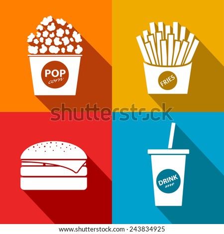 vector fast food flat icon set