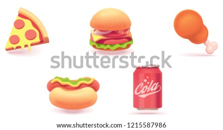 Vector fast food icon set. Includes illustrations of pizza slice, burger, fried chicken, hot dog and soda can
