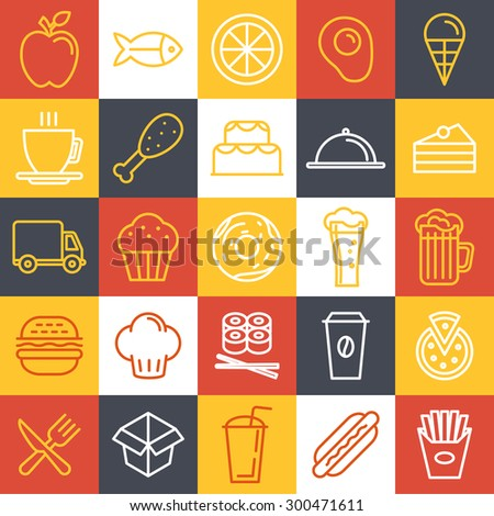 vector fast food icons and sign