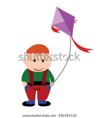 Vector - Fat boy.A fat boy is playing a kite.