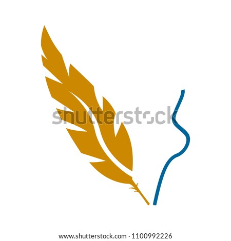 vector feather pen illustration, quill art symbol - graphic design