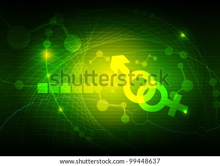 vector female and male symbol science technology background