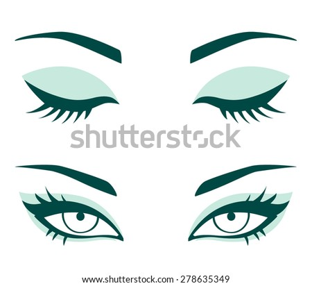 vector female eyes closed and