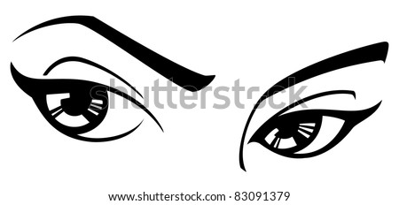 vector female eyes three