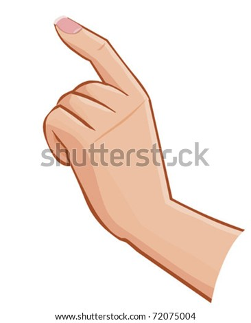vector female hand touching screen isolated on white background