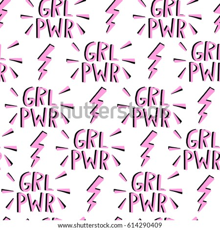 Vector feminism symbol seamless pattern. Feminist movement background
