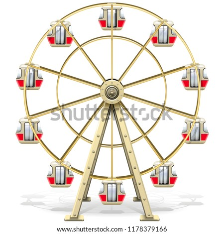 Vector Ferris Wheel isolated on white background