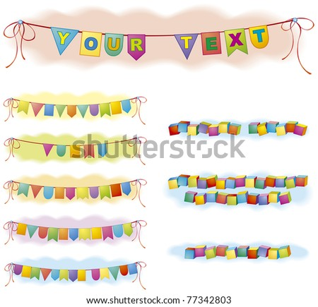 Vector festive backdrop for the text in the form of colored flags and bricks