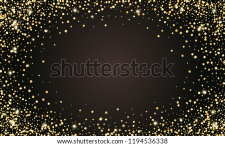 vector festive black background with golden glittering confetti for text invitations anniversary celebration birthday