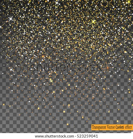 Vector festive illustration of falling shiny particles and stars isolated on transparent  background. Golden Confetti Glitters. Sparkling texture. Holiday Decorative tinsel element for Design.
