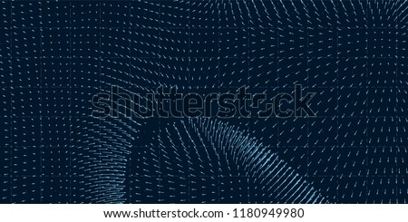 Vector field visualization of forces. Magnetic or gravitational fluctuations chart. Science backdrop with a matrix of arows with magnitude and direction. Flow representation. Interaction