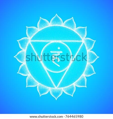 Vector fifth Vishuddha throat chakra sanskrit seed mantra Ham hinduism syllable lotus petals. Dot work tattoo style hand drawn white monochrome symbol on light blue background for yoga meditation