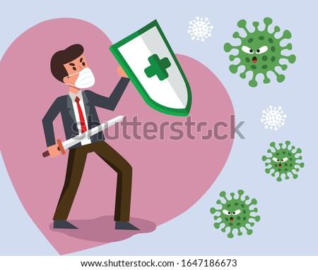 Vector Fight virus. Cartoon man character fighting with virus. COVID-19 Novel Coronavirus. Photo stock ©