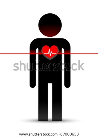 Vector figure man with pulse line and red heart