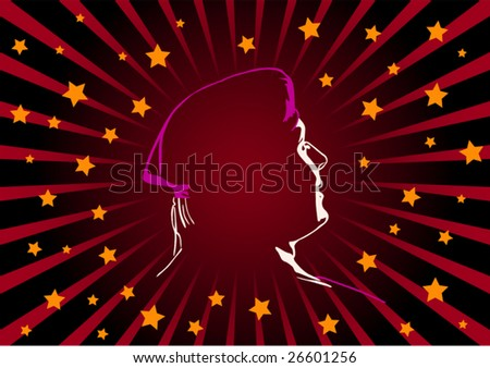 Vector figure of a silhouette the soldier on black background