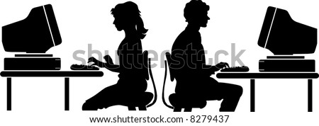 vector file computer worker silhouette